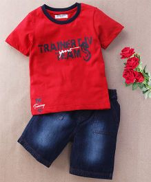 Jazzy Trainer Print Tee & Shorts Set - Red & Blue