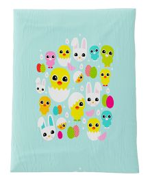 Fancy Fluff Premium Digitally Printed Comforter Chick Theme - Sea Green