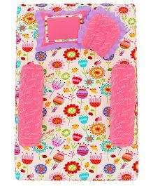 Fancy Fluff 4 Piece Premium Baby Mattress Set Bird - Pink & Multicolor