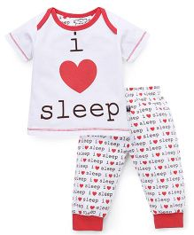 Mini Taurus Half Sleeves T-Shirt And Pajama Sleep Print - Red White
