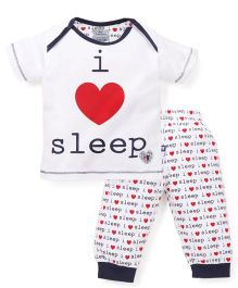 Mini Taurus Half Sleeves T-Shirt And Pajama Sleep Print - Navy Blue White