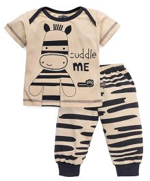 Mini Taurus Half Sleeves Cuddle Me Print Night Suit - Beige