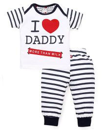 Mini Taurus Half Sleeves T-Shirt And Bottoms Set Daddy Print - Blue White