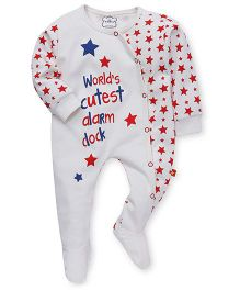 Mini Taurus Full Sleeves Footed Romper Star Print - White Red