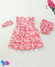 Nena Flowery Print Dress With Bloomer & Headband - Pink