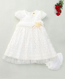 Nena Bow Detailing Dress With Bloomer - Off White