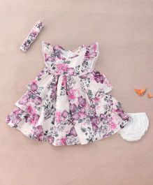 Nena Flowery Detailing Dress With Bloomer & Headband - White & Purple