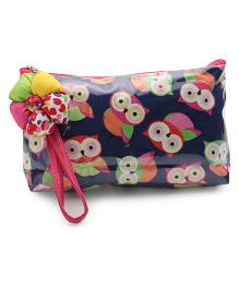 The Eed Owl Print Baby Purse - Navy Blue