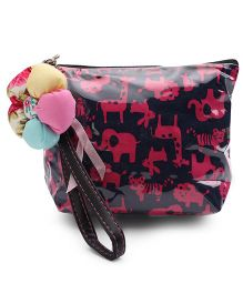 The Eed Animals Print Baby Purse - Black & Pink