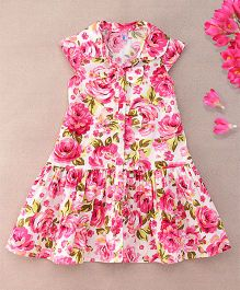 De Berry Floral Print Baby Dress - Pink & White