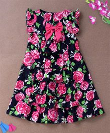 De Berry Rose Print Dress With Bow - Black