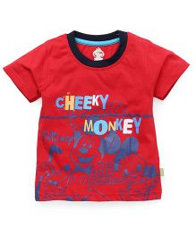 Bodycare Half Sleeves T-Shirt Monkey Print - Red