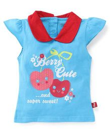 Bodycare Cap Sleeves Top Berry Print - Sky Blue