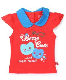 Bodycare Cap Sleeves Top Berry Print - Orange
