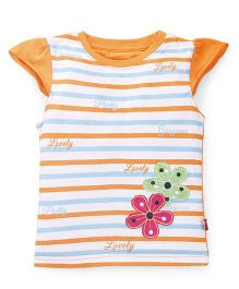 Bodycare Cap Sleeves Top Flower Patch - Orange