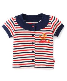 Bodycare Short Sleeves Stripe Top Butterfly Embroidery - Navy Blue Red