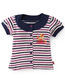 Bodycare Short Sleeves Stripe Top Butterfly Embroidery - Navy Blue Purple