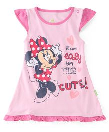 Bodycare Cap Sleeves Frock Minnie Mouse Print - Pink