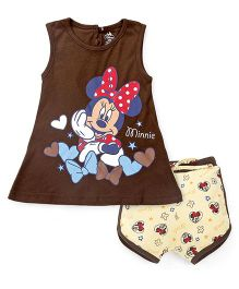 Bodycare Sleeveless Top And Shorts Set Minnie Print - Brown