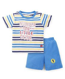 Bodycare Half Sleeves T-Shirts And Shorts Set Little Dude Print - Light Blue