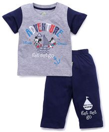 Bodycare Half Sleeves T-Shirt And Bottoms Mickey Print - Grey & Navy Blue