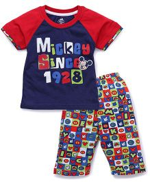 Bodycare Half Sleeves T-Shirt And Bottoms Mickey Since 1928 Print - Navy Blue