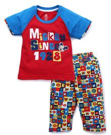 Bodycare Half Sleeves T-Shirt And Bottoms Mickey Since 1928 Print - Red