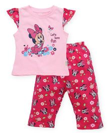 Bodycare Cap Sleeves Top And Leggings Minnie Mouse Print - Light And Dark Pink