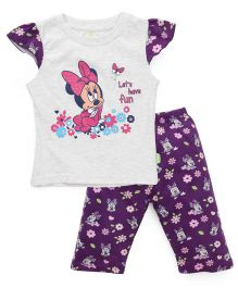 Bodycare Cap Sleeves Top And Leggings Minnie Mouse Print - White And Purple