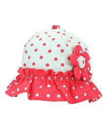 De Berry Polka Dot Print Baby Hat - Pista & Red