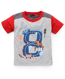 Great Babies One Way Car Print T-Shirt - Red & Grey