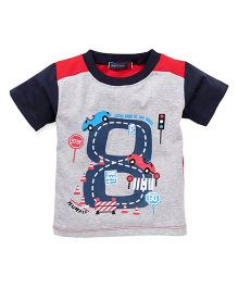 Great Babies One Way Car Print T-Shirt - Navy Blue & Grey