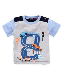 Great Babies One Way Car Print T-Shirt - Blue & Grey