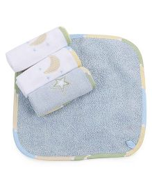 Abracadabra Moon And Stars Design Face Towels Set Of 4 - Aqua Blue White