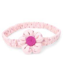 De Berry Flower With Dot Print Headband - Light Pink