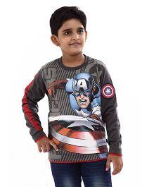Marvel Full Sleeves T-Shirt Captain America Print - Grey