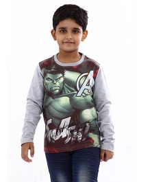Marvel Full Sleeves T-Shirt Hulk Print - Grey
