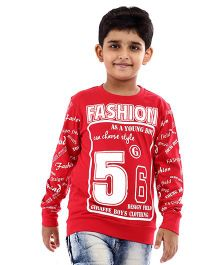 Giraffe Full Sleeves T-Shirt Fashion Print - Red