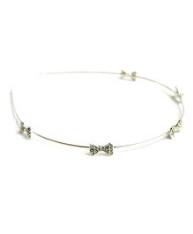 Flaunt Chic Diamante Bows On Silver Base Hairband - Silver