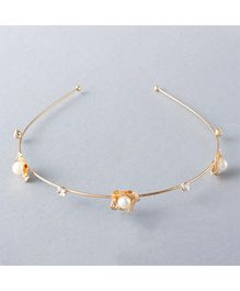 Flaunt Chic Pearl On Flower Band - Gold