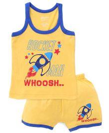 Bodycare Sleeveless Vest And Shorts Set Rocket Print - Yellow