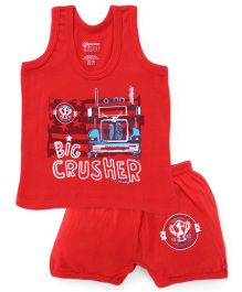 Bodycare Sleeveless Vest And Shorts Set Big Crusher Print - Red