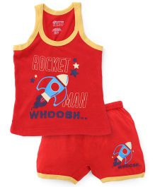 Bodycare Sleeveless Vest And Shorts Set Rocket Print - Red