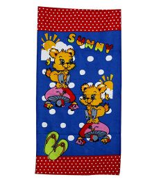 Sassoon Dotted Towel Animal Design - Red Blue