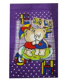 Sassoon Dotted Towel Teddy Bear Design - Purple