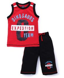 Taeko Sleeveless T-Shirt And Bermuda Shorts Super Robot Print - Red Black