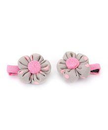 De Berry Dot Print Flower Hair Clip - Grey