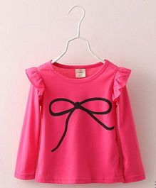 Mauve Collection Bow Printed T-Shirt - Hot Pink