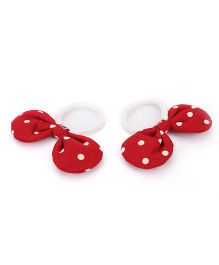 De Berry Dot Print Bow Rubber Band - Red