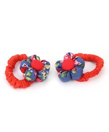 De Berry Floral Print Rubber Band - Red & Blue